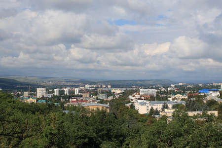 Panoramic view of Pyatigorsk from Mashuk Mountain in a summer day. Pyatigorsk is a resort town in Stavropolsky Krai, Russia Stock Photo