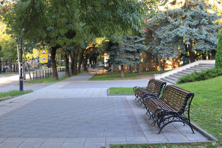 Two benches on the street in the morning Stok Fotoğraf