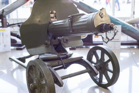 First World War Machine gun. old machine gun system Maxim. A variety of angles. In the gun shop Stock Photo