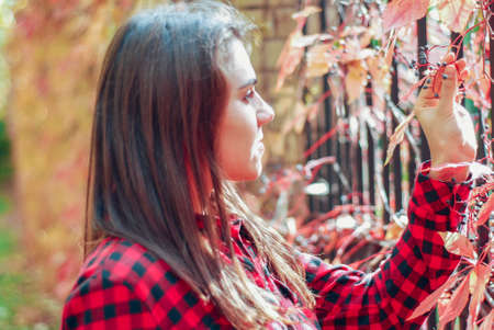 portrait of a young beautiful girl in the autumn forest, standing at the fence, overgrown with wild wolf berry. Girl touches dangerous berries. Poisoning by unknown substances in nature. Children eat unknown berries in the forest Reklamní fotografie