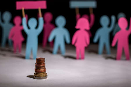 people are on strike against salary cuts. Job cuts. Salary reduction. Rally protesters. Solving the global problem of society