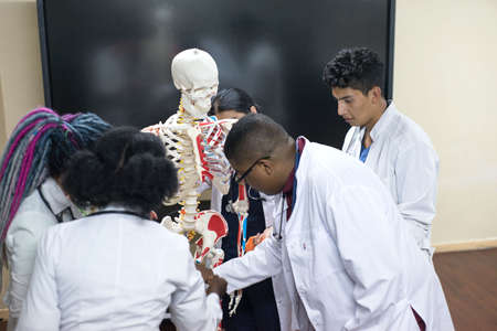 doctors of mixed race, of different sexes, in the study room, study human anatomy, on the skeleton. Young medical students at medical university Stock Photo - 140365698