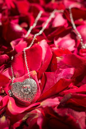 silver pendant on a background of red rose petals. Dramatic light