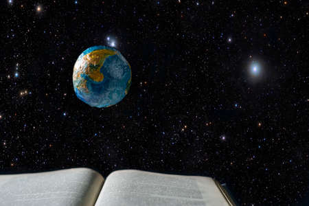 an open book, a levitating model of the planet earth levitates above it, against the background of outer space with stars. The concept of global knowledge, global knowledge system. Knowledge is the cosmos. A creative concept illustrating the power of knowledge from books transmitted around the world via the Internet, hovering in space like planet Earth.