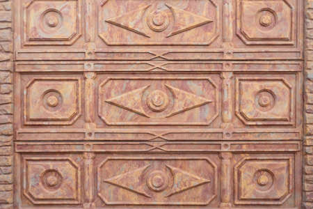patterned decorative brown textured fence tile. Ceramic panel, decor Stock Photo