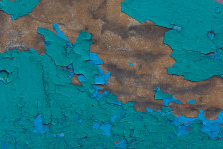 texture of old cracked turquoise paint vintage abstract background with brown rust stains Old wooden painted light blue rustic background, paint peeling