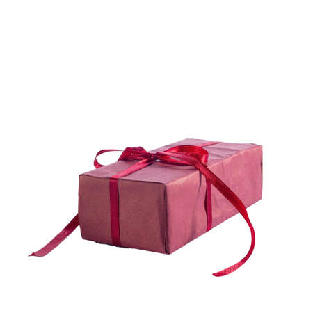 red christmas gift with bow isolate on white background Red gift box with golden ribbon, isolated on the white background, clipping path included.