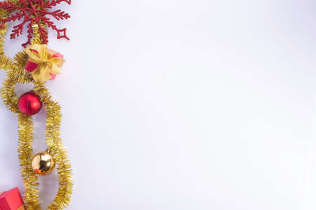 red christmas decorations, new year gifts on white background Christmas collection isolated on white background
