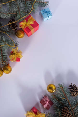 Christmas composition .christmas flatlay with gifts on a white background. Top view, new year concept, copy space Foto de archivo