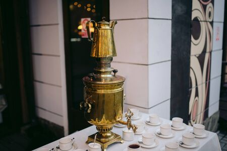 Russian samovar on a traditional tea ceremony