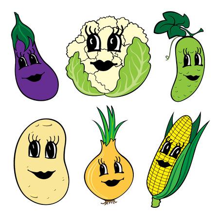 frutas divertidas: Conjunto de 6 vehículos divertidos dibujos animados con caras aisladas sobre un fondo blanco.