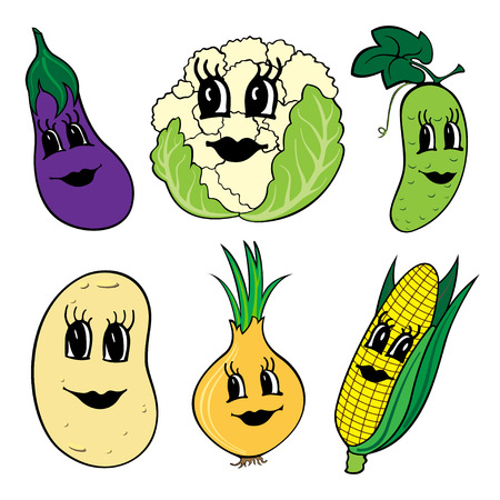 Set of 6 funny cartoon vegetables with faces isolated on a white background.