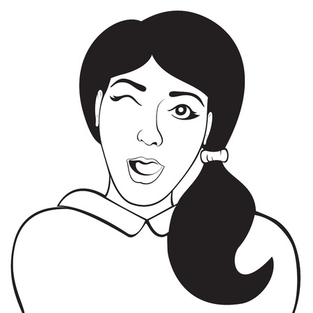 balck and white: Winking woman isolated on a white background. Vector illustration. Black and white