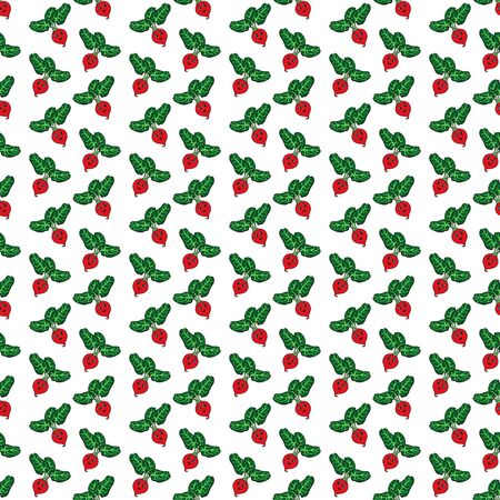 Red funny cartoon radish seamless pattern. Vector illustration of vegetable on a white background