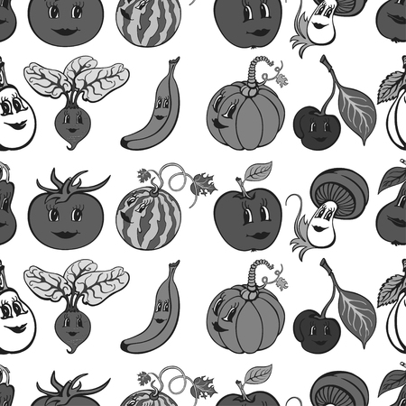 Set of cartoon funny vegetables and fruit gray. Vegetables and fruits for children education. Vector illustration