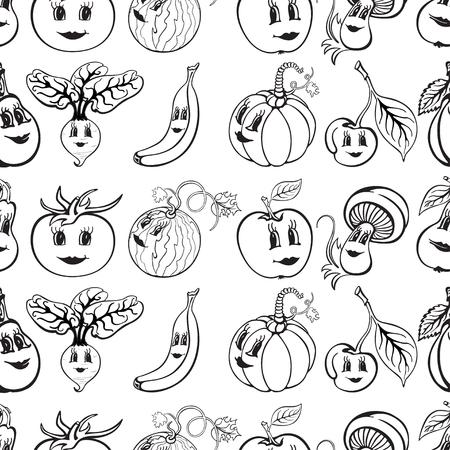 Set van cartoon grappige groenten en fruit zwart en wit. Groenten en fruit voor kinderen onderwijs. vector illustratie