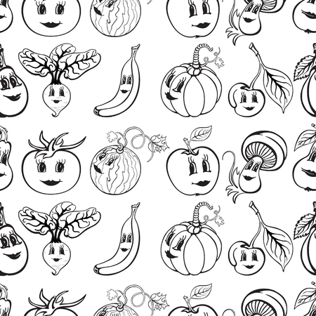 Set of cartoon funny vegetables and fruit black and white. Vegetables and fruits for children education. Vector illustration