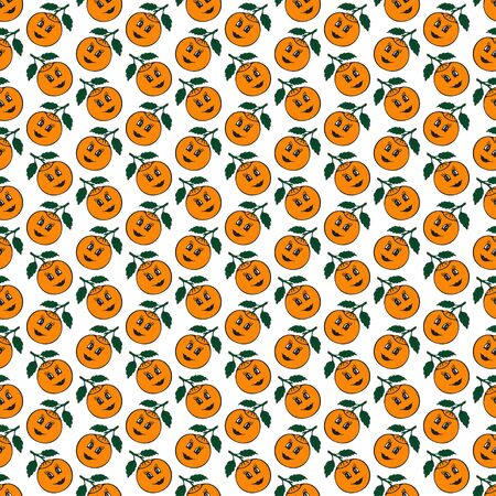 mandarin: Orange mandarin seamless pattern. Vector illustration on a white background