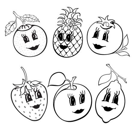 Set van 6 grappige cartoon vruchten zwart en wit. Vruchten voor kinderen onderwijs. vector illustratie