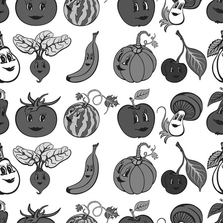 Set of cartoon funny vegetables and fruit gray. Vegetables and fruits for children education.