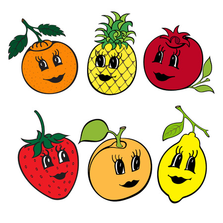 Set of funny fruit isolated on a white background. Vector cartoon illustration. Cute stylish characters.