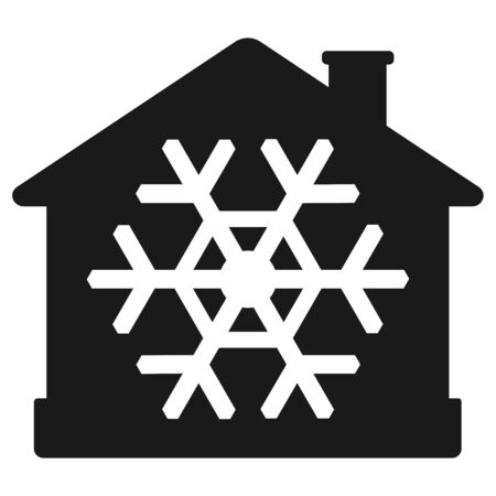 Airconditionerpictogram, huis met sneeuwvlok. Vector illustratie geïsoleerd op een witte achtergrond