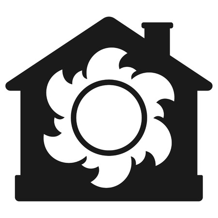 Air heating icon, house with sun. Vector illustration isolated on white background