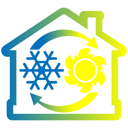 fervent: Air condition system colorful icon, house with snowflake, sun and arrows. Vector illustration isolated on white background Illustration