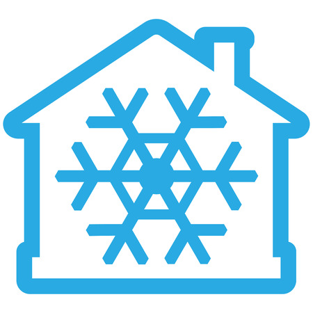 Air conditioner icon, house with snowflake as blue contiur. Vector illustration isolated on white background