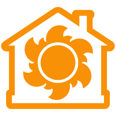 Air heating icon, house with sun as orange contour. Vector illustration isolated on white background