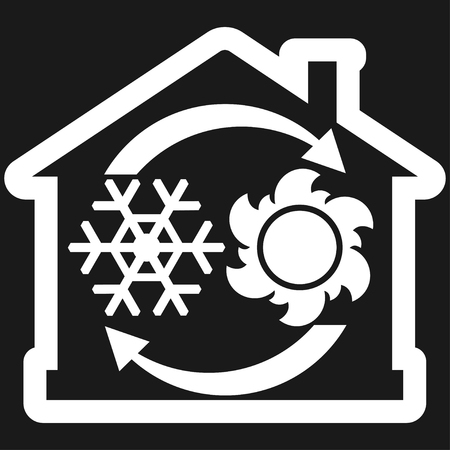 Air condition system icon, house with snowflake, sun and arrows. Vector illustration isolated on black background