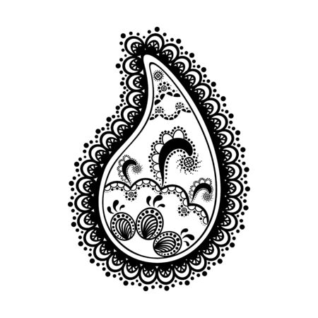 Black and white lace buta decoration item on white background.  Vector floral wedding decorative element isolated.