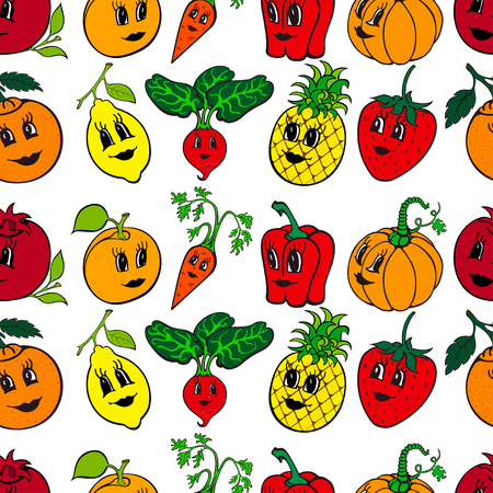 Set of 10 funny cartoon vegetables and fruit isolated on a white background. Vector illustration
