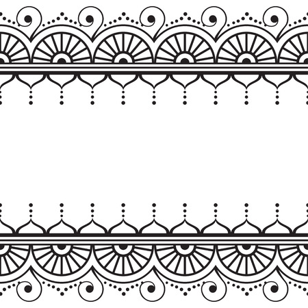 Indian, Mehndi Henna line lace element with circles and waves pattern card on white background