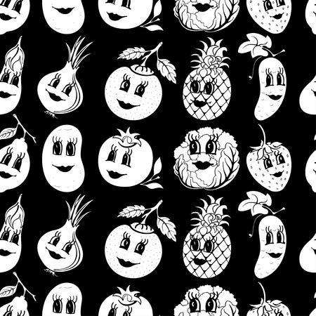 Set of 10 black and white funny cartoon vegetables and fruit isolated on a black background. Vector illustration Ilustração