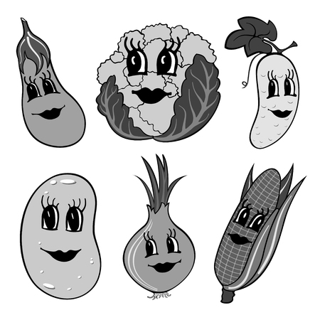 Set of 6 gray funny cartoon vegetables isolated on a white background. Vector illustration Ilustração