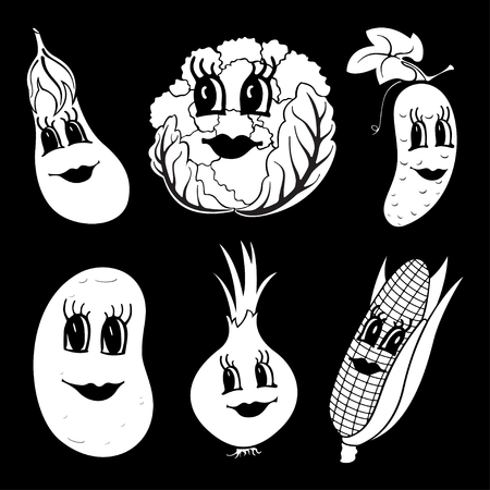 Set of 6 black and white funny cartoon vegetables isolated on a black background. Vector illustration Ilustração