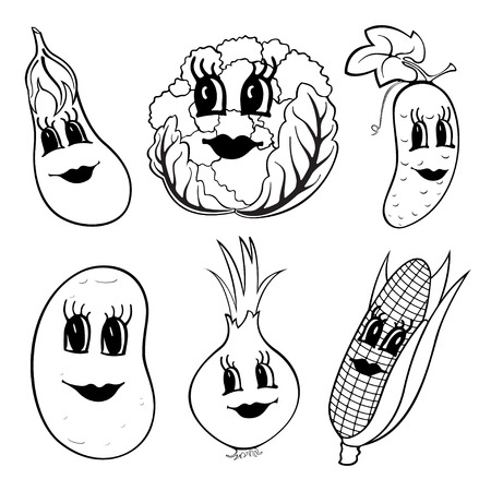 Set of 6 black and white funny cartoon vegetables isolated on a white background. Vector illustration