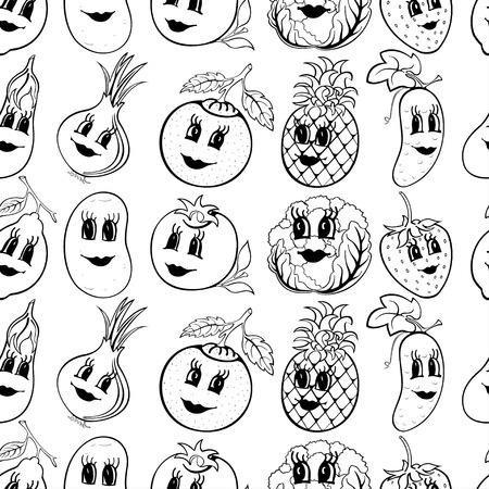 Set of 10 black and white funny cartoon vegetables and fruit isolated on a white background. Vector illustration Ilustração