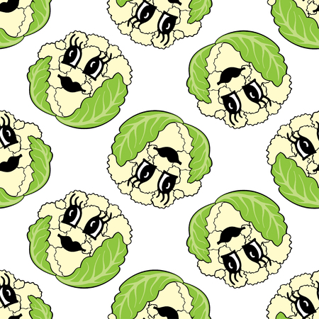 Funny cartoon vegetable cauliflower seamless pattern. Vector illustration of vegetable on a white background