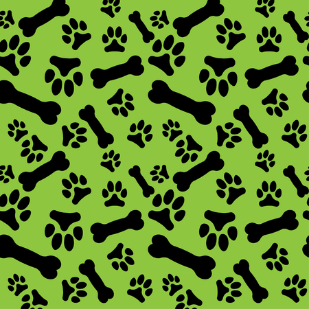 Seamless pattern with black dog paw prints and bones on a green background. Vector illustration