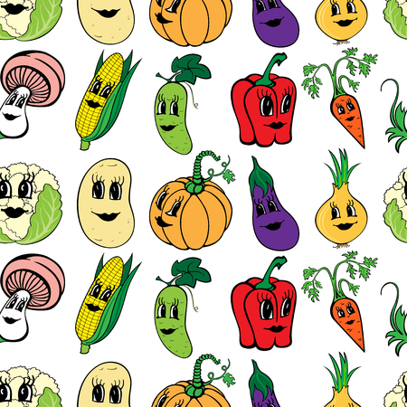 Set of 10 funny cartoon vegetables isolated on a white background. Vector illustration Ilustração