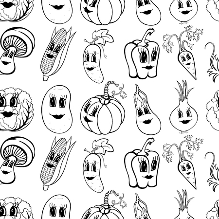 Set of 10 black and white funny cartoon vegetables isolated on a white background. Vector illustration Ilustração