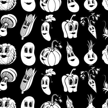 Set of 10 black and white funny cartoon vegetables isolated on a black background. Vector illustration Ilustração