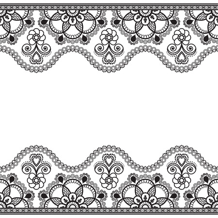 Indian, Mehndi Henna line lace border element with flowers pattern card for tattoo on white background. Vector illustration 向量圖像