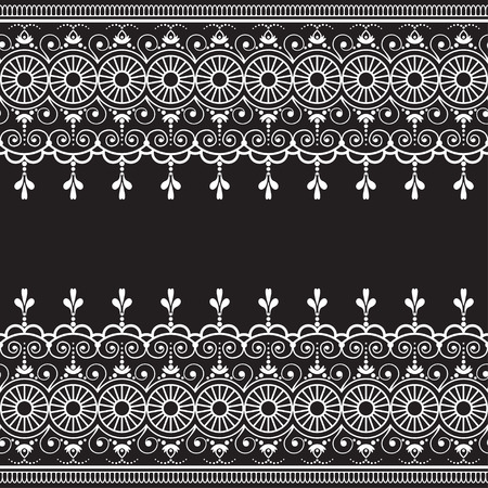 Indian, Mehndi Henna line lace element with circles pattern card for tattoo on black background