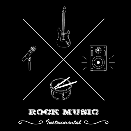 bass drum: Hipster logo or label for musical instruments: guitar, drum with sticks, microphone, speaker with text isolated on black background. Vector illustration logo.