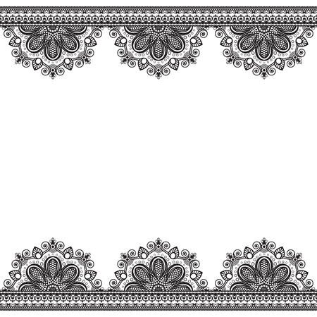 border pattern elements with flowers in Indian mehndi style for card and tattoo  isolated on white background.  Vector illustration