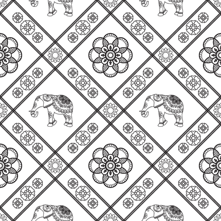 Henna tattoo seamless pattern with elephants and flowers in indian mehndi style. Vector illustration isolated on white background