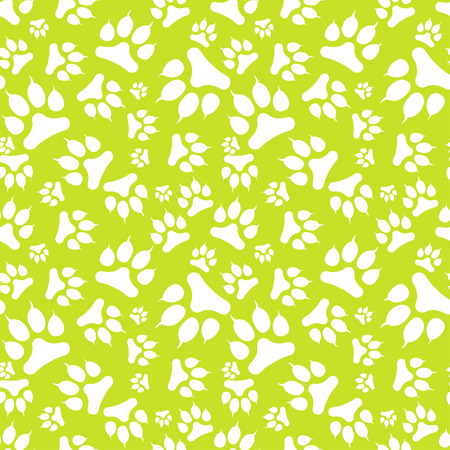 Seamless pattern with white dog footprint and claws isolated on green background. Vector illustration Illustration